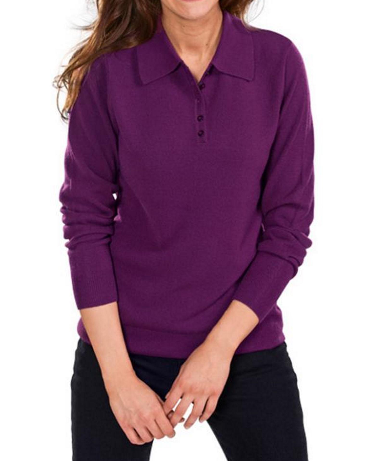 damen langarm poloshirt polo shirt pullover strick weinrot blau t rkis 38 40 46 ebay. Black Bedroom Furniture Sets. Home Design Ideas