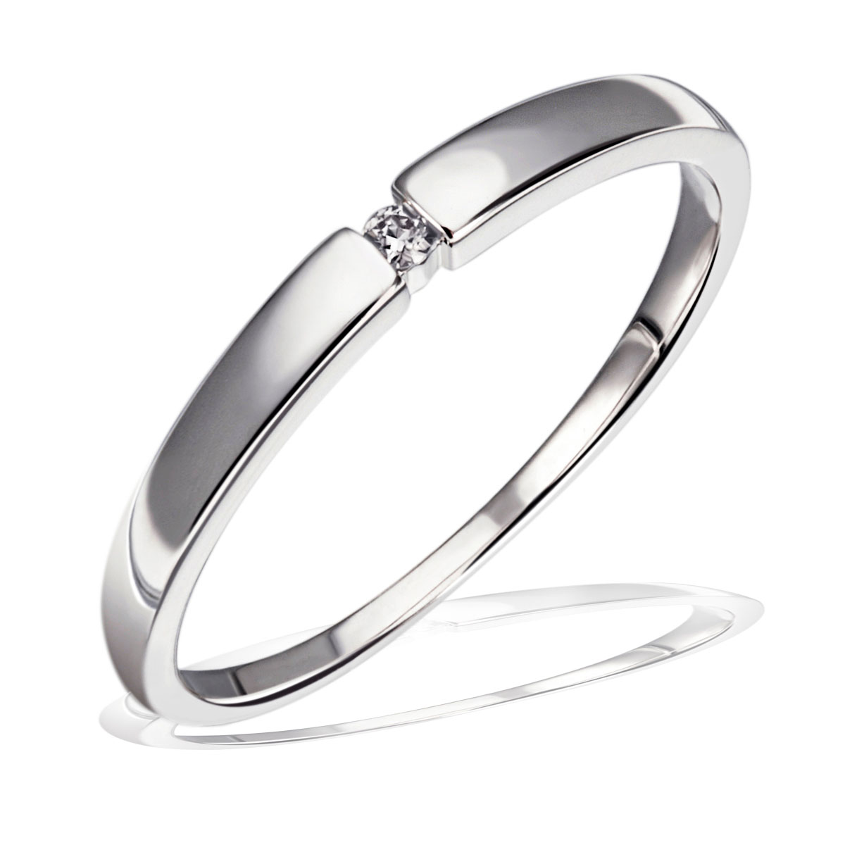 Goldmaid-Ring-Solitaer-Weissgold-Gelbgold-oder-Rotgold-1-Brillant-0-03-ct-NEU