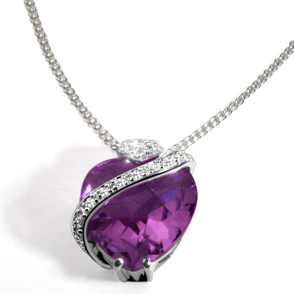 goldmaid-Silber-Collier-Amethyst-Farbsteine-Herz-Lila-Schachbrett-Anhaenger