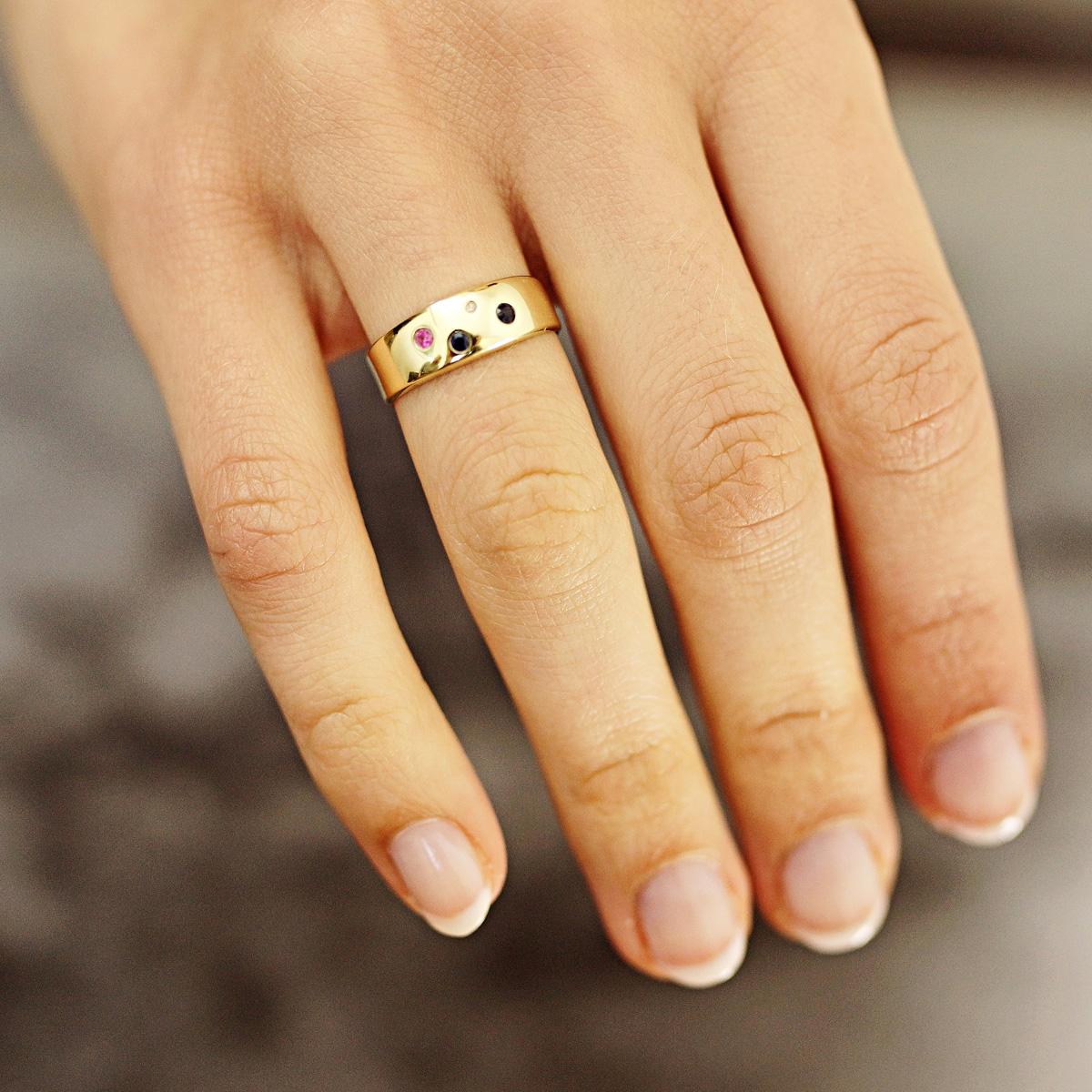 Goldmaid-Ring-Kette-oder-Ohrringe-375-Gelbgold-mit-Rubin-Diamanten-und-Saphir