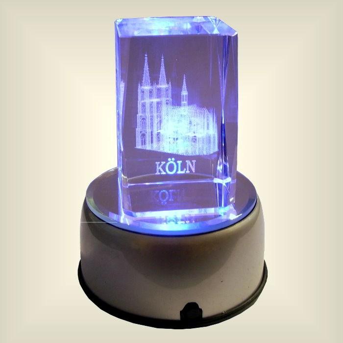 Foto Auf Glas Beleuchtet kölner dom glas kristal cristal laser gravour köln dom led