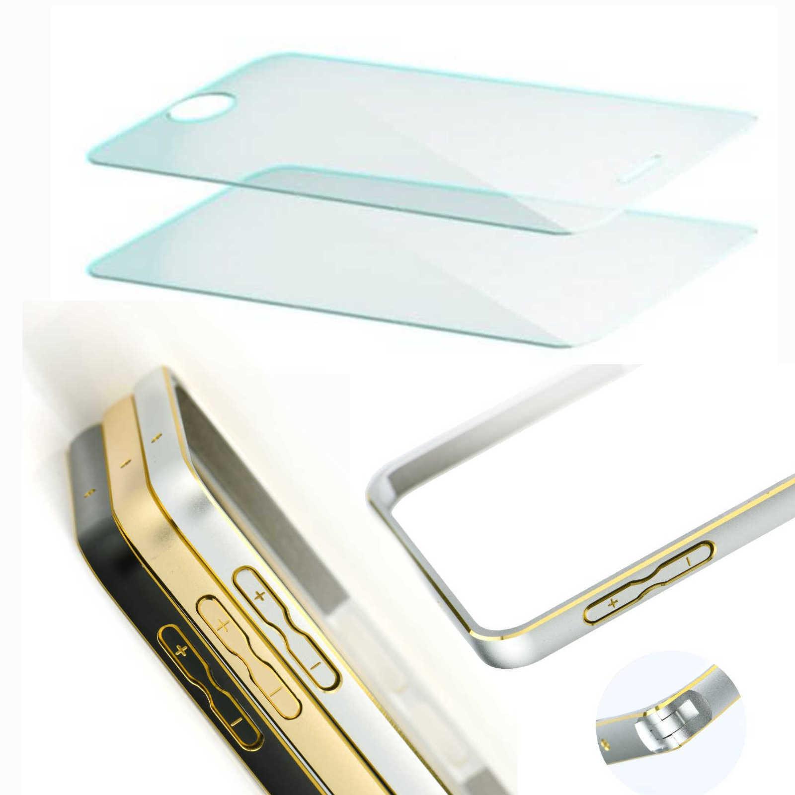 2 x Hartglas H9 Temperd Glass und Aluminium Rahmen Metall Bumper ...