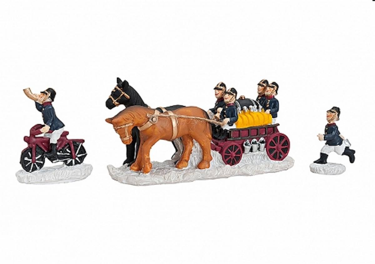Lichthaus Serie G.Wurm weihnachtliche Miniatur Feuerwehr Figuren Set 3 teilig