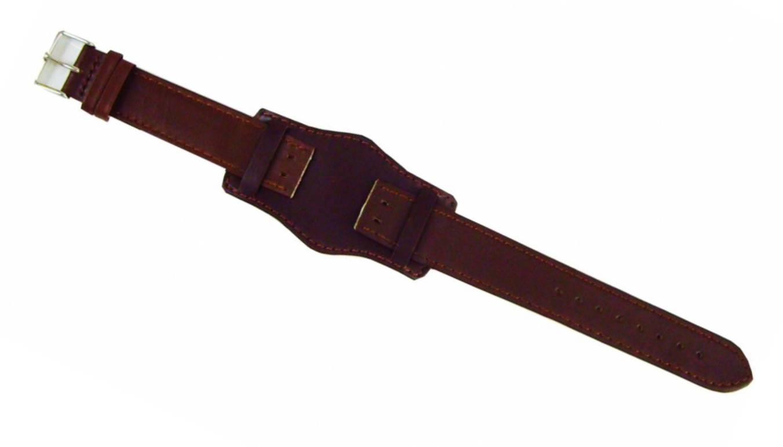 4f535eacf1bf Federal militar reloj pulsera banda reloj banda cuero última bares sólido  marrón oscuro 18 mm cierre plata