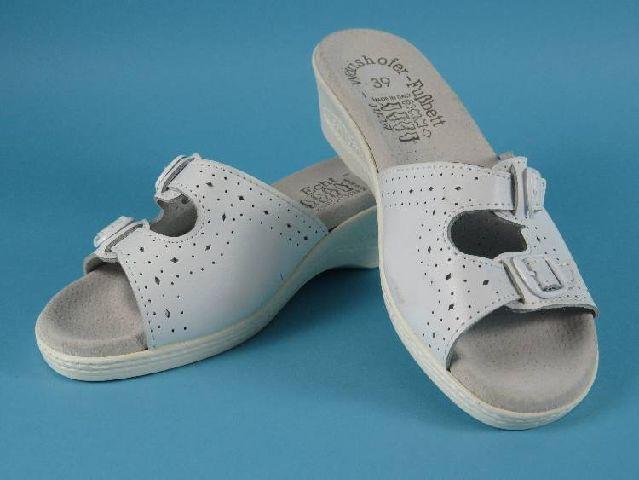damen schuhe pantolette sandale wei leder mit w rishofer. Black Bedroom Furniture Sets. Home Design Ideas