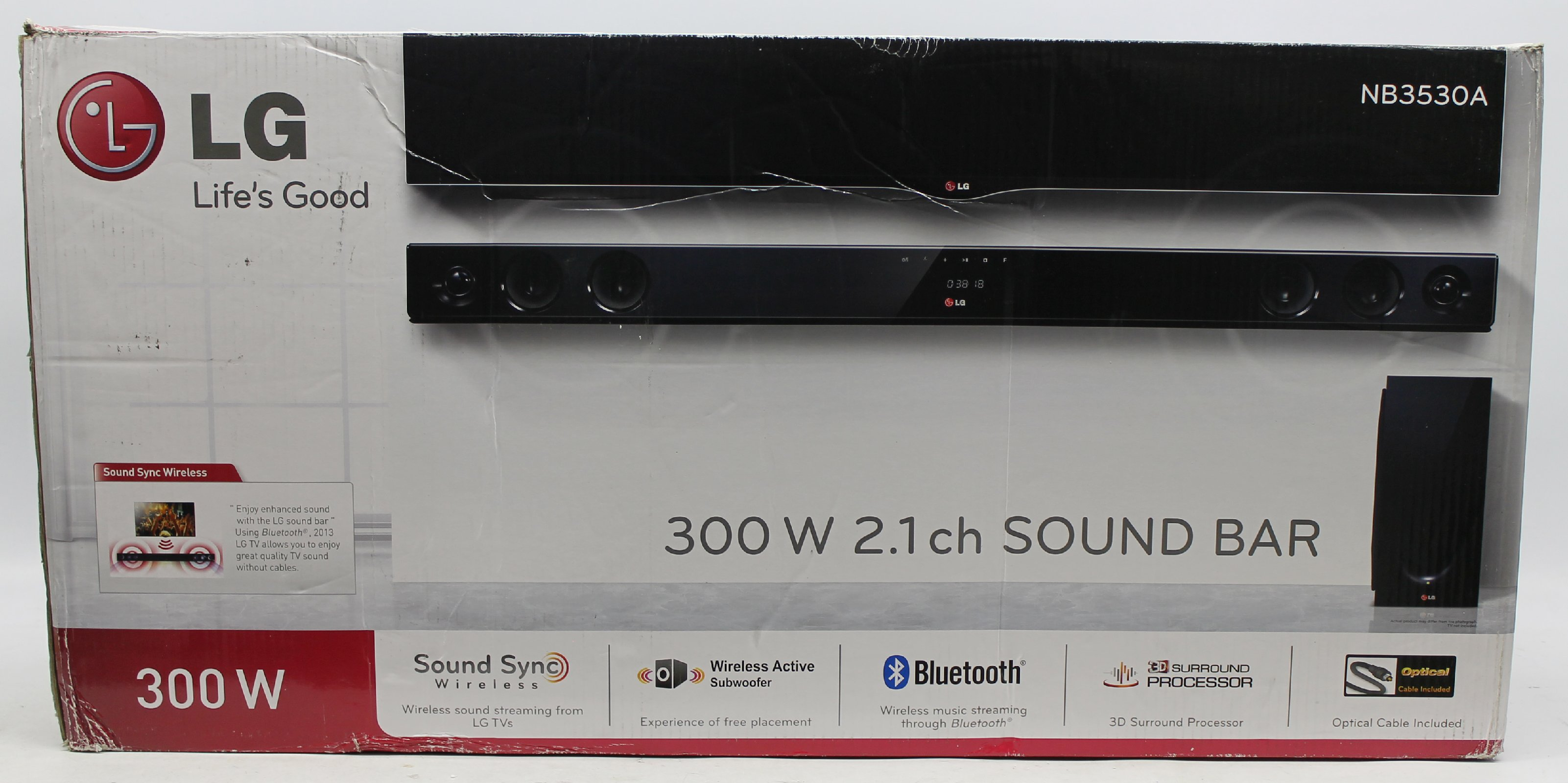 lg nb3530a 2 1 soundbar mit wireless subwoofer 300 watt usb schwarz ebay. Black Bedroom Furniture Sets. Home Design Ideas