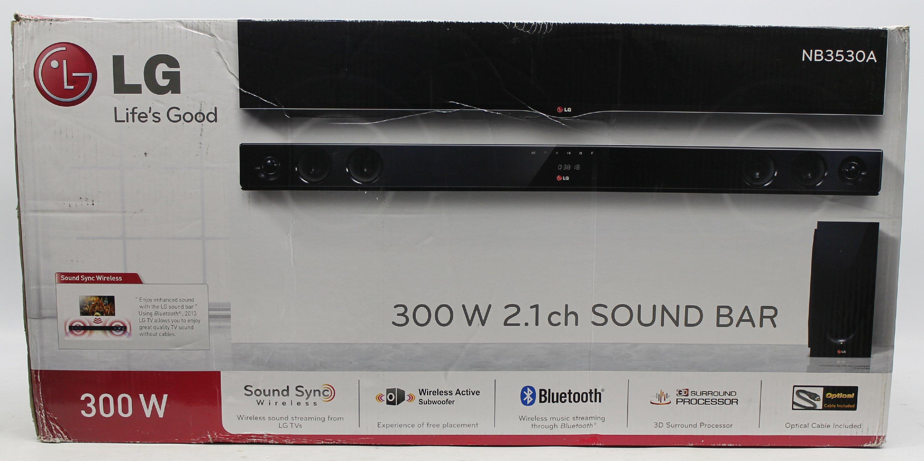 lg nb3530a 2 1 soundbar mit wireless subwoofer 300 watt usb schwarz ebay. Black Bedroom Furniture Sets. Home Design Ideas