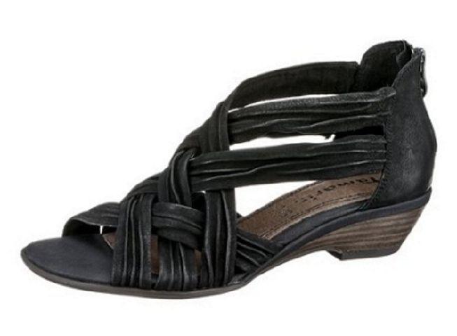 tamaris damen schuhe sandaletten sandalette schwarz leder fersenrei verschluss ebay. Black Bedroom Furniture Sets. Home Design Ideas