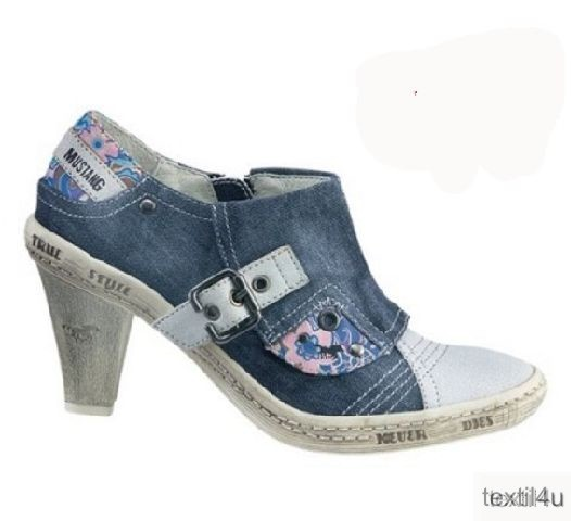 damen schuhe mustang pumps blau jeans neu ebay. Black Bedroom Furniture Sets. Home Design Ideas
