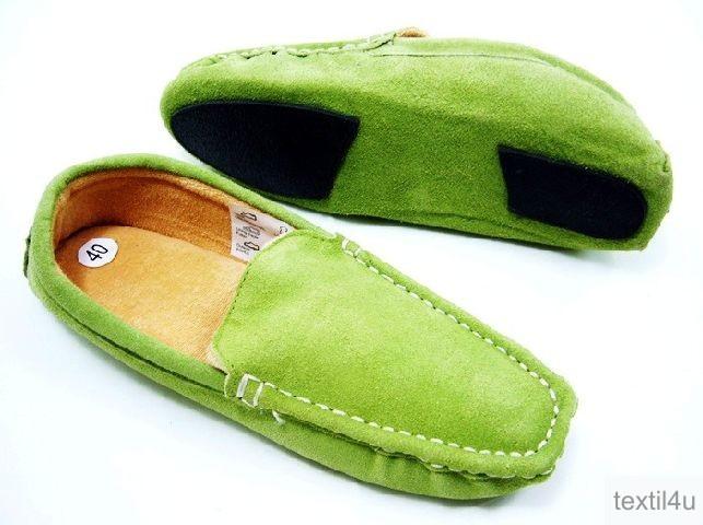 damen schuhe slipper mokassins hausschuhe pantoffeln wildleder blau oder gr n. Black Bedroom Furniture Sets. Home Design Ideas