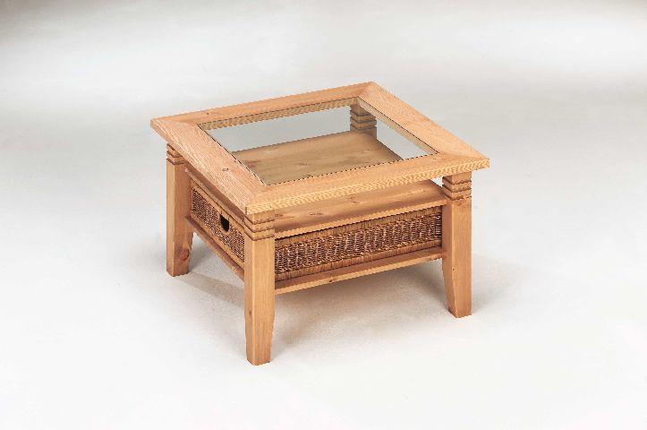 Couchtisch Tisch Kiefer massiv Rattan Korb 5221GEL  eBay