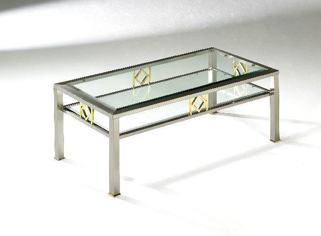 Couchtisch tisch glastisch glas messing edelstahlfarbig - Couchtisch messing glas ...