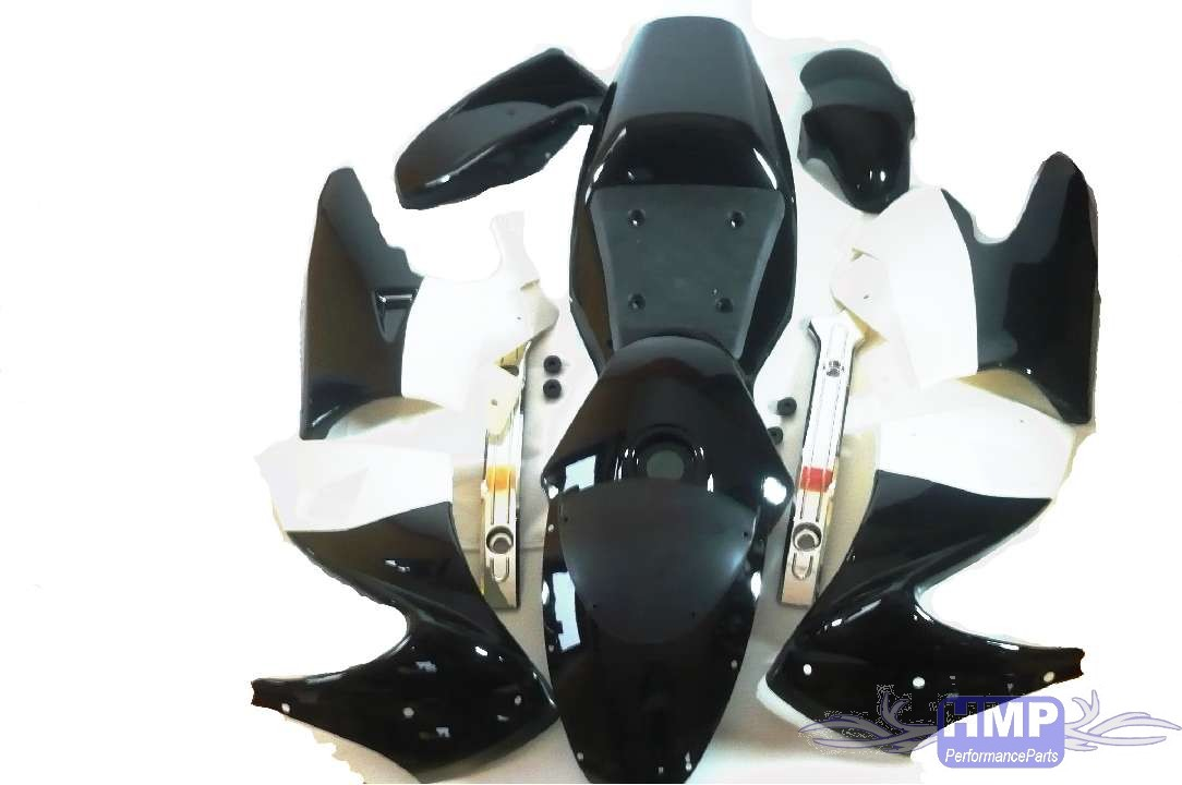 pocket bike fairing set complete black white ebay. Black Bedroom Furniture Sets. Home Design Ideas