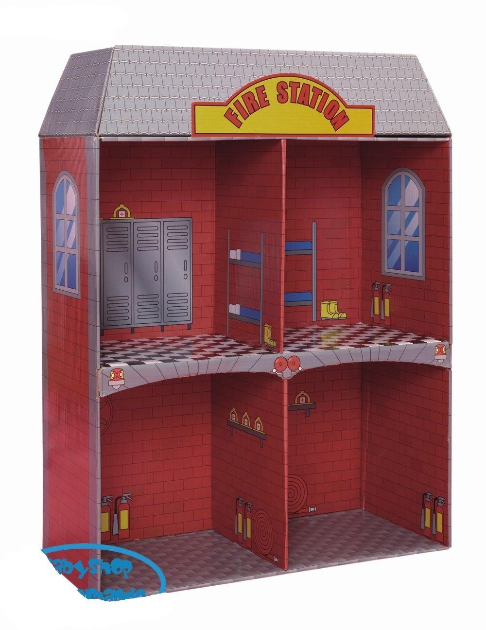 Puppenstuben & -häuser Puppenhaus aus Pappe 2-stöckig NEU ohne Möbel Feuerwehr 80151