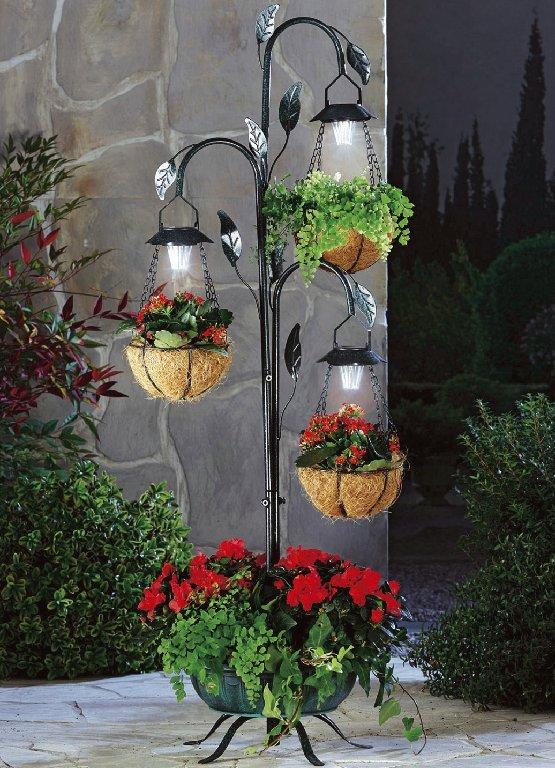 pflanzst nder mit 3 solarleuchte blumenst nder garten deko blumen pflanzen. Black Bedroom Furniture Sets. Home Design Ideas
