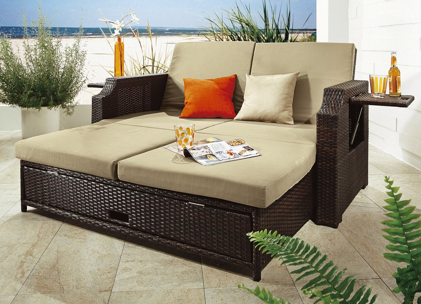 lounge sofa rattan monaco multifunktionssofa relaxliege relaxsofa gartenm bel ebay. Black Bedroom Furniture Sets. Home Design Ideas