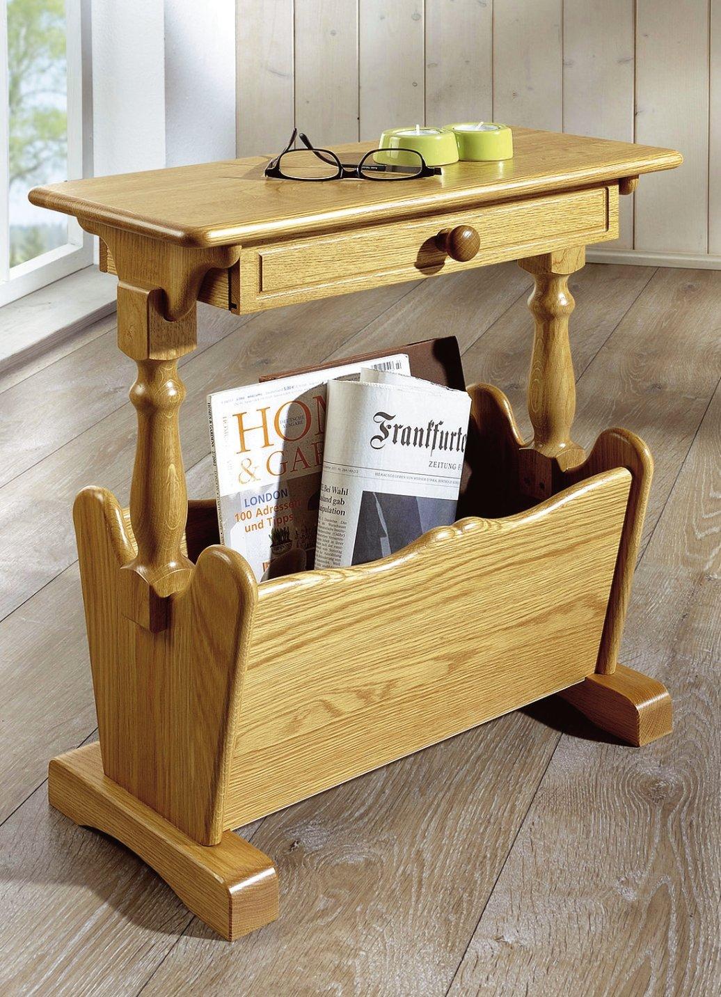zeitungsst nder holz eiche rustikal mit ablagetisch zeitungstisch beistelltisch ebay. Black Bedroom Furniture Sets. Home Design Ideas