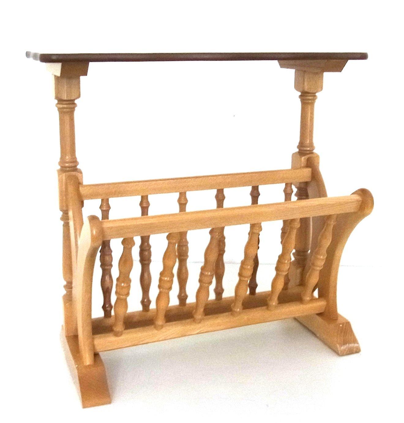 zeitungsst nder mit ablagetisch zeitungstisch zeitungskorb zeitungshalter buche ebay. Black Bedroom Furniture Sets. Home Design Ideas