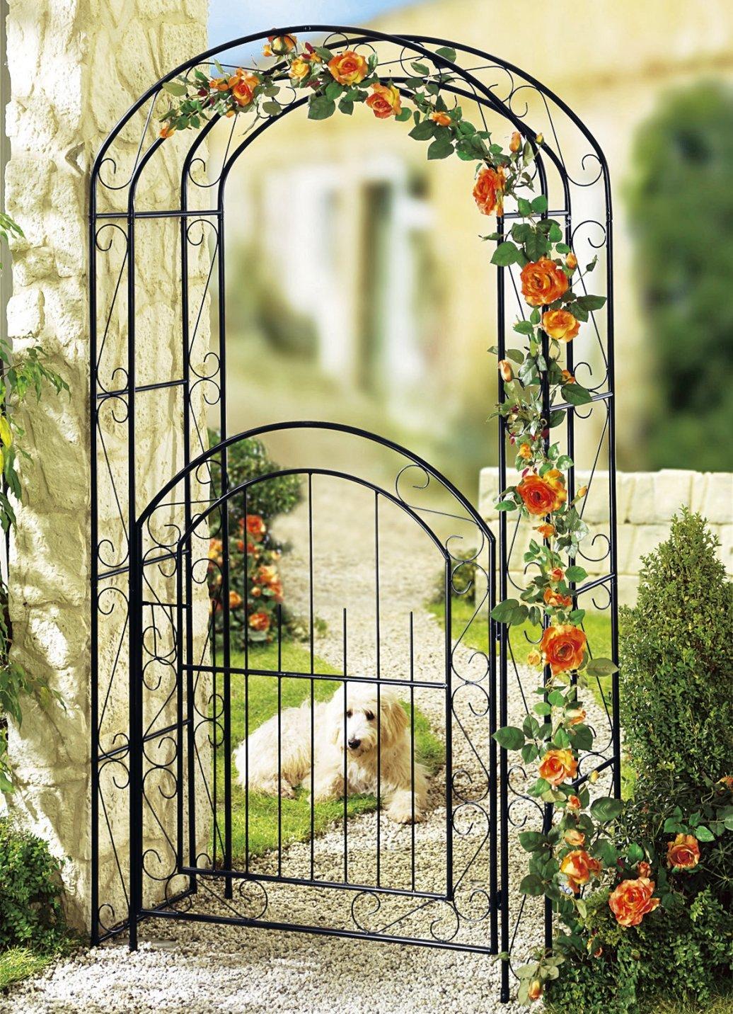 Rosenbogen mit Gartentür Metall Garten Dekoration Spalier Blumenspalier DS