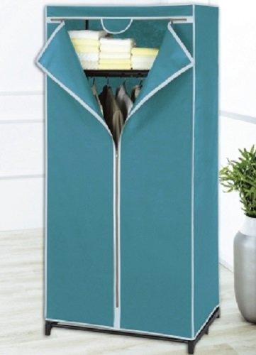 wenko kleiderschrank mit ablage stoff petrol aufbewahrungsschrank kleider. Black Bedroom Furniture Sets. Home Design Ideas