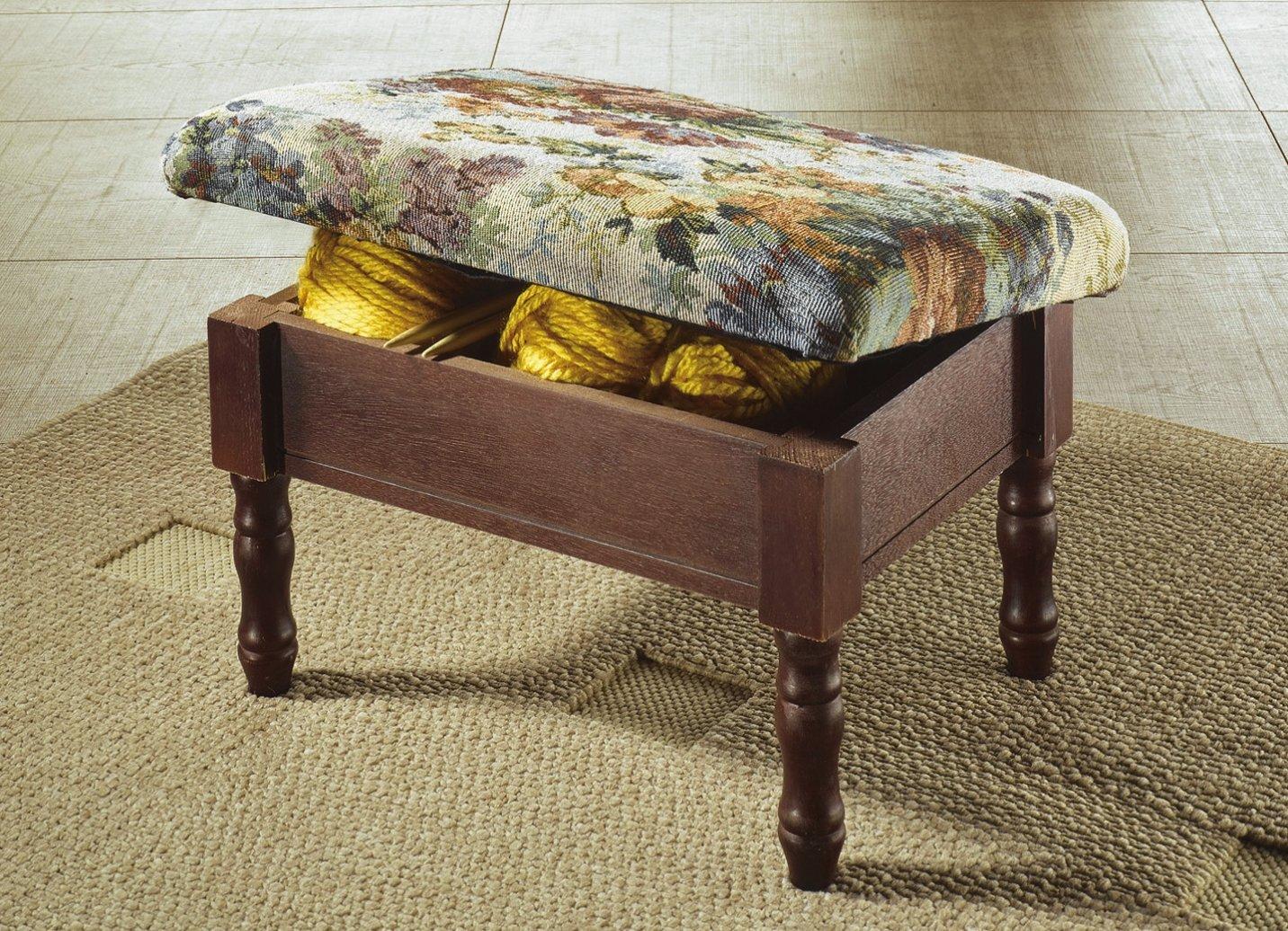 fu hocker fu ablage mit stauraum holzgestell mit blumen muster holz hocker ebay. Black Bedroom Furniture Sets. Home Design Ideas