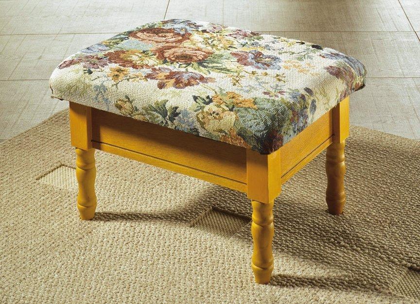 fu hocker holzgestell mit blumen muster holz hocker fu ablage mit stauraum ds ebay. Black Bedroom Furniture Sets. Home Design Ideas