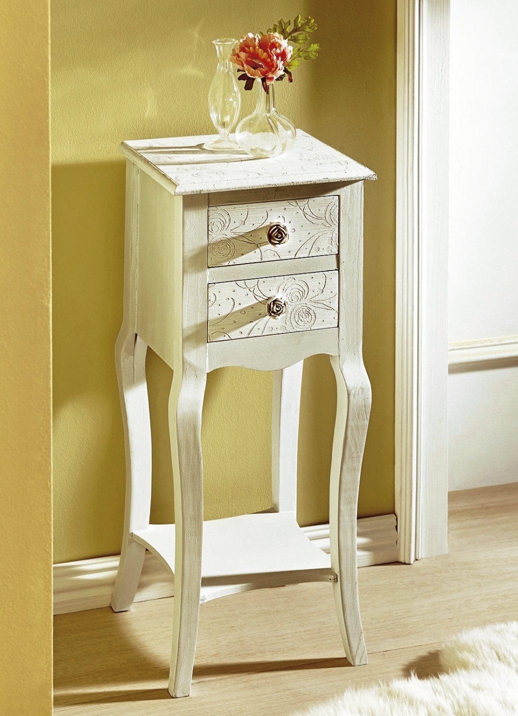 telefontisch schubladen antik cremefarben schrank. Black Bedroom Furniture Sets. Home Design Ideas