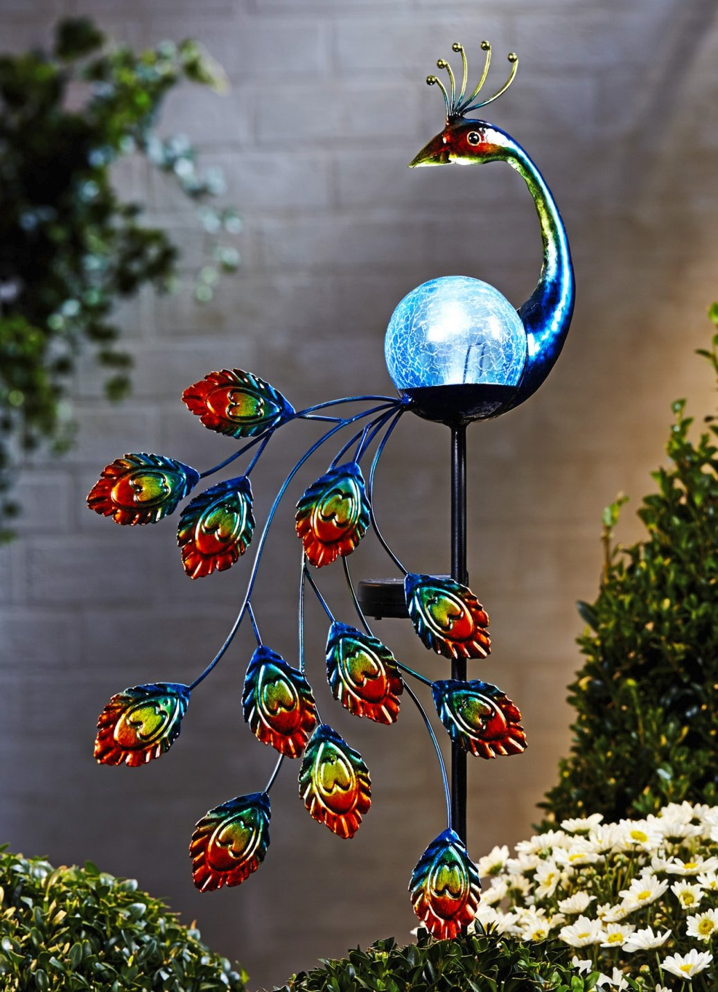 Solarfigur Pfau Bunt Gartenfigur Figur Dekoration Garten Solar Ds Ebay