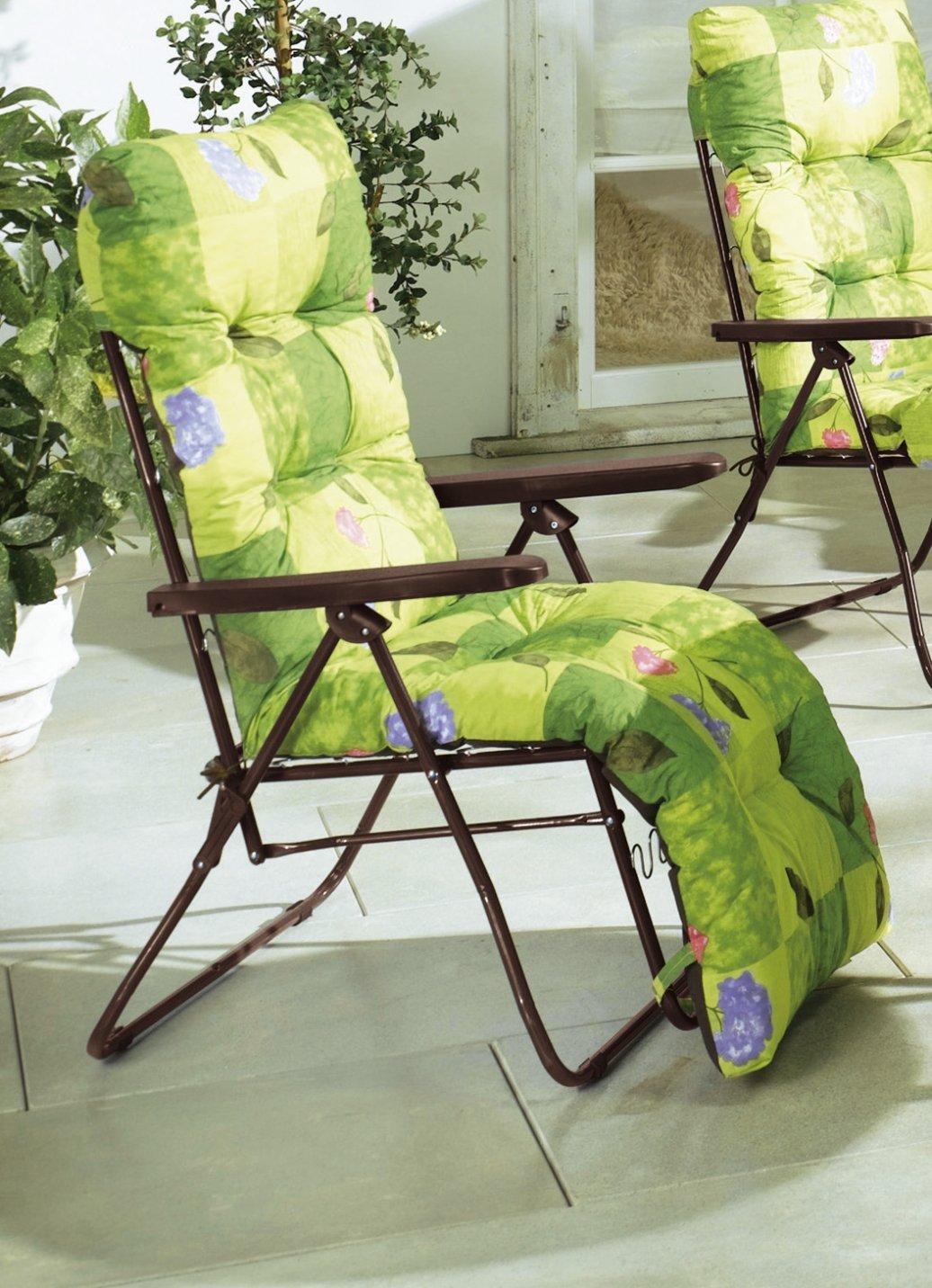 Hochlehner gartenstuhl blau auflage klappsessel for Gartenstuhl auflage