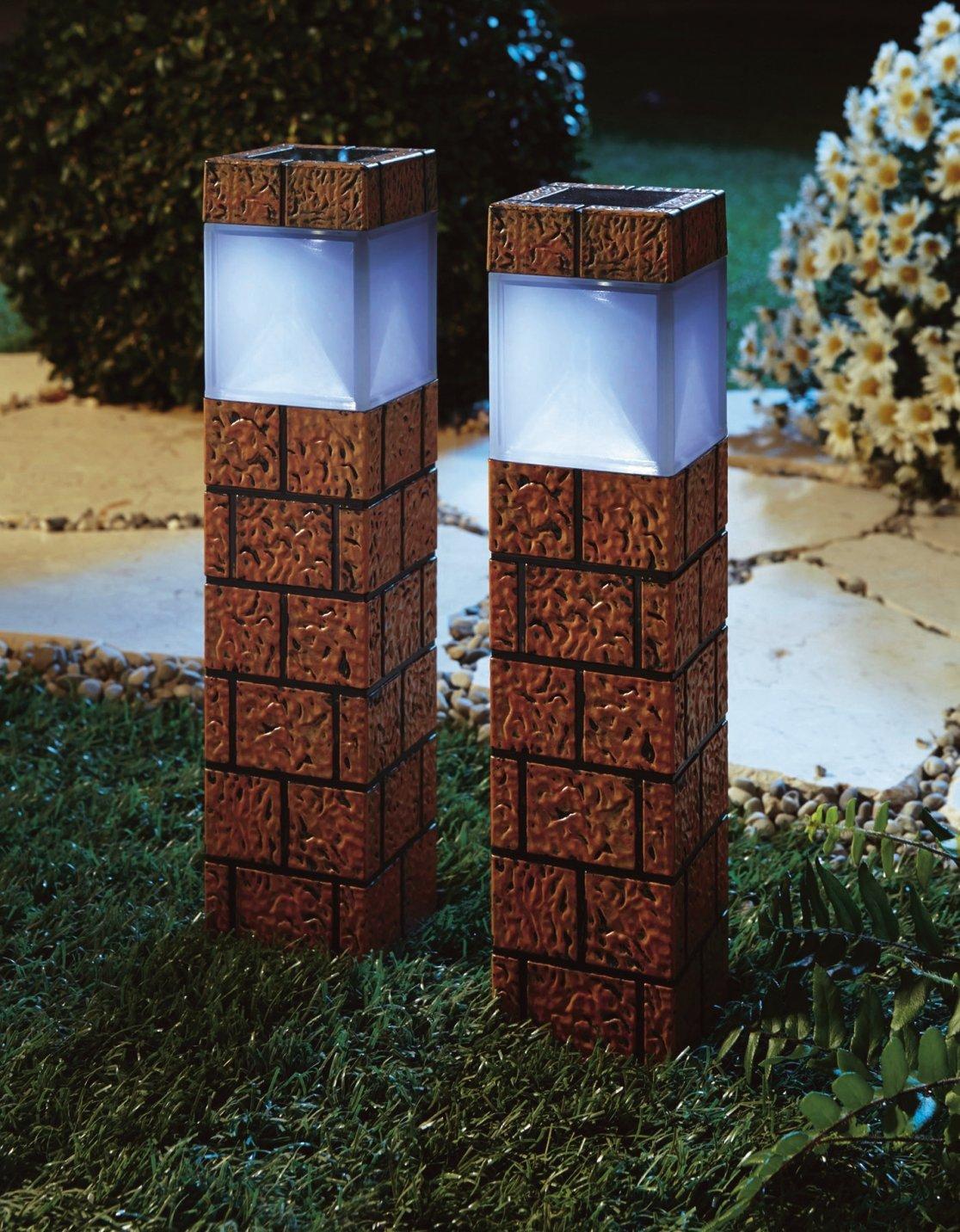 solar leuchte klinker 2er set led gartenbeleuchtung gartenlicht solarlicht ebay. Black Bedroom Furniture Sets. Home Design Ideas