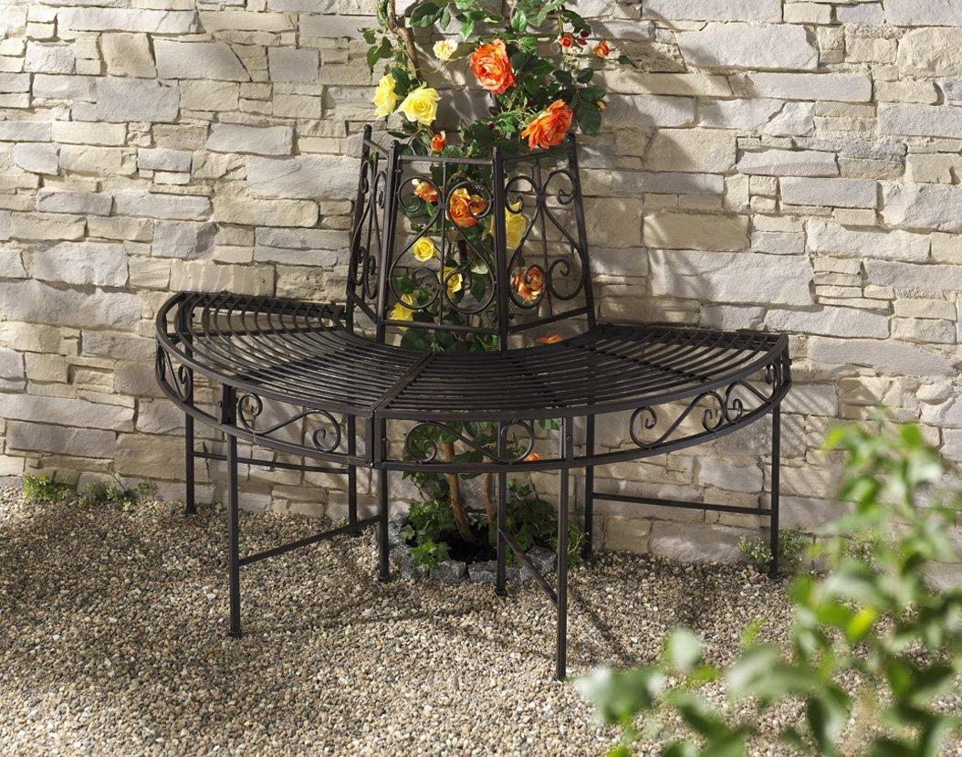 baumbank metall halbrund gartenbank metallbank sitzbank gartenm bel ebay. Black Bedroom Furniture Sets. Home Design Ideas