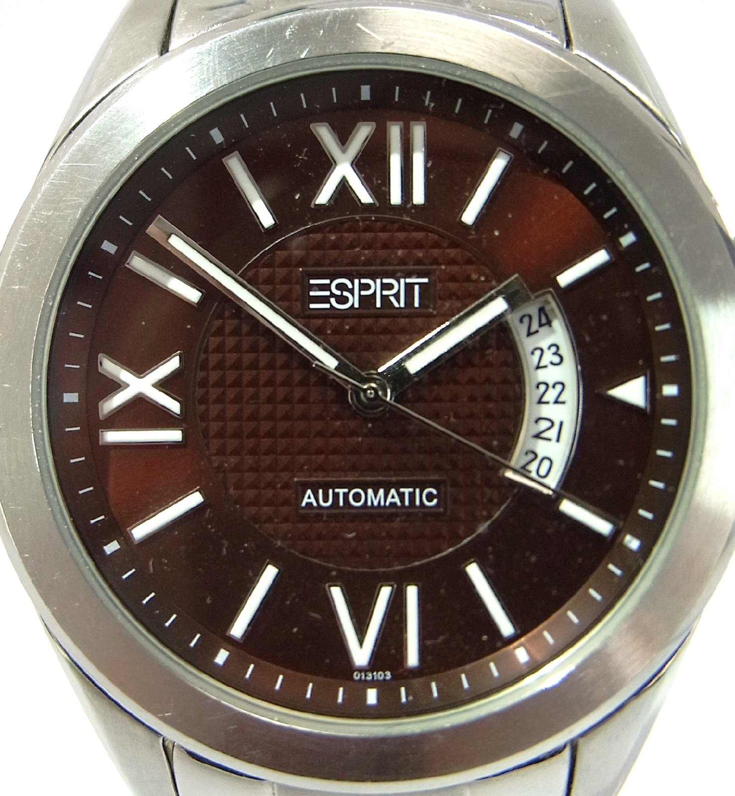 esprit herrenuhr wega 101311 braun automatic edelstahl uhr armbanduhr herren ebay. Black Bedroom Furniture Sets. Home Design Ideas