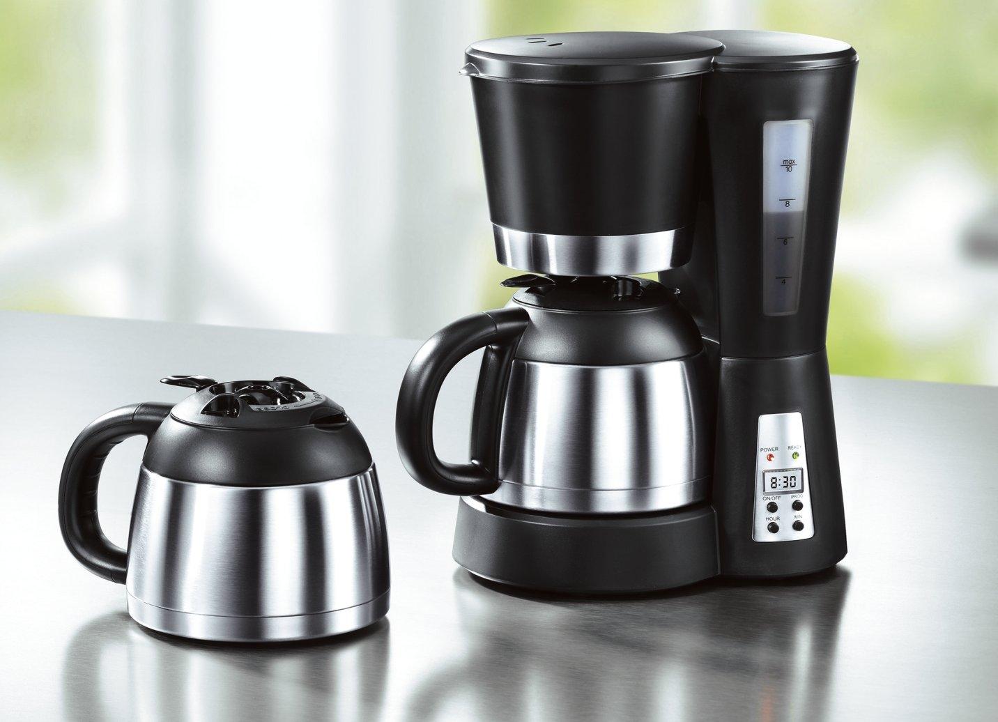 mia kaffeemaschine mit timer kaffee thermoskanne edelstahl filterkaffee ebay. Black Bedroom Furniture Sets. Home Design Ideas