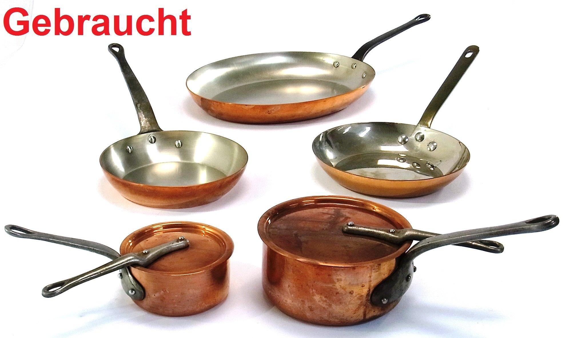 3 Kupferpfannen 2 Kupfertöpfe mit Deckel von Le Cellier  ~ Entsafter Für Induktionsherd