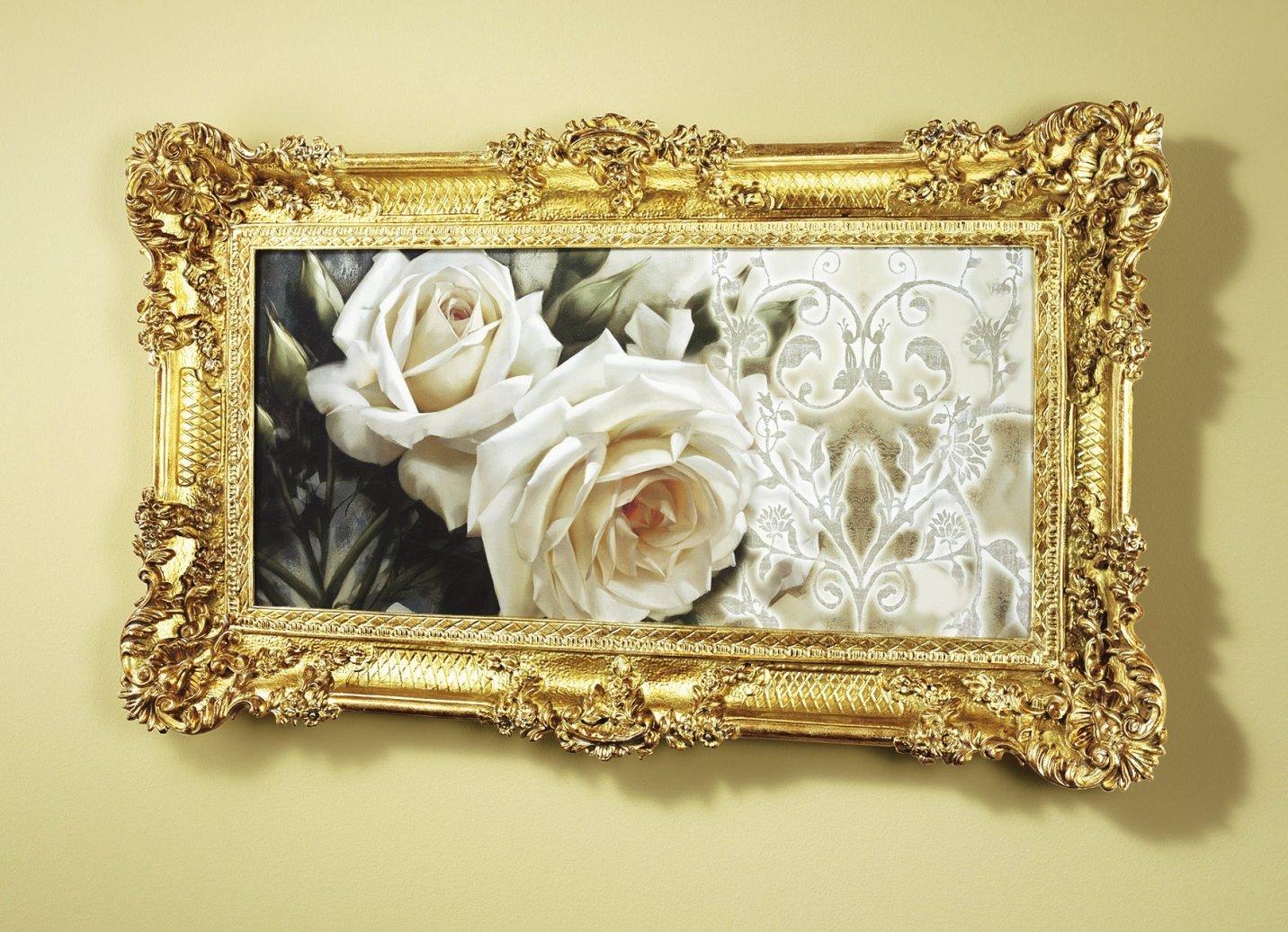 bild mit wei en rosenbl ten mit rahmen kunstdruck wandbild druck wanddekoration ebay. Black Bedroom Furniture Sets. Home Design Ideas