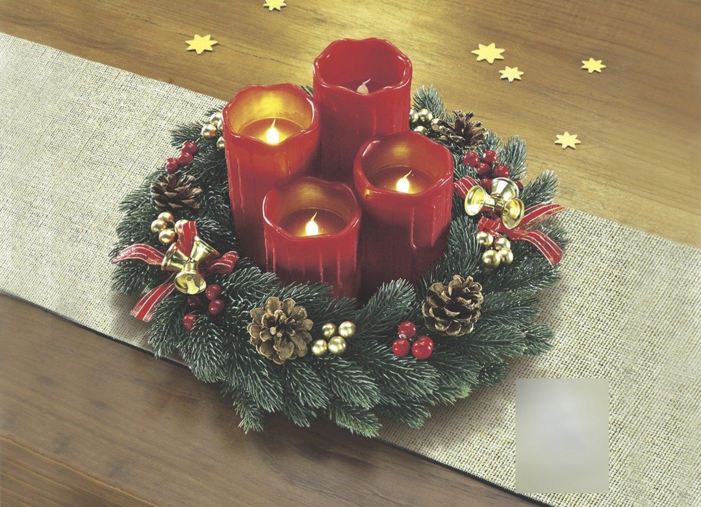 adventskranz mit led kerzen weihnachten weihnachtsgesteck advent gesteck ebay. Black Bedroom Furniture Sets. Home Design Ideas