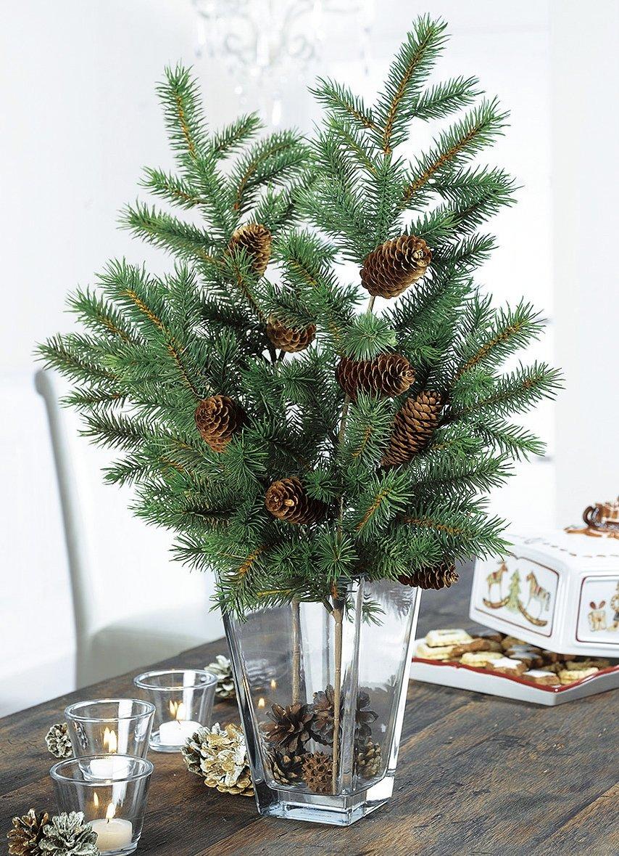 tannenzweige 2er set mit tannenzapfen weihnachten tannenzweig deko ebay. Black Bedroom Furniture Sets. Home Design Ideas