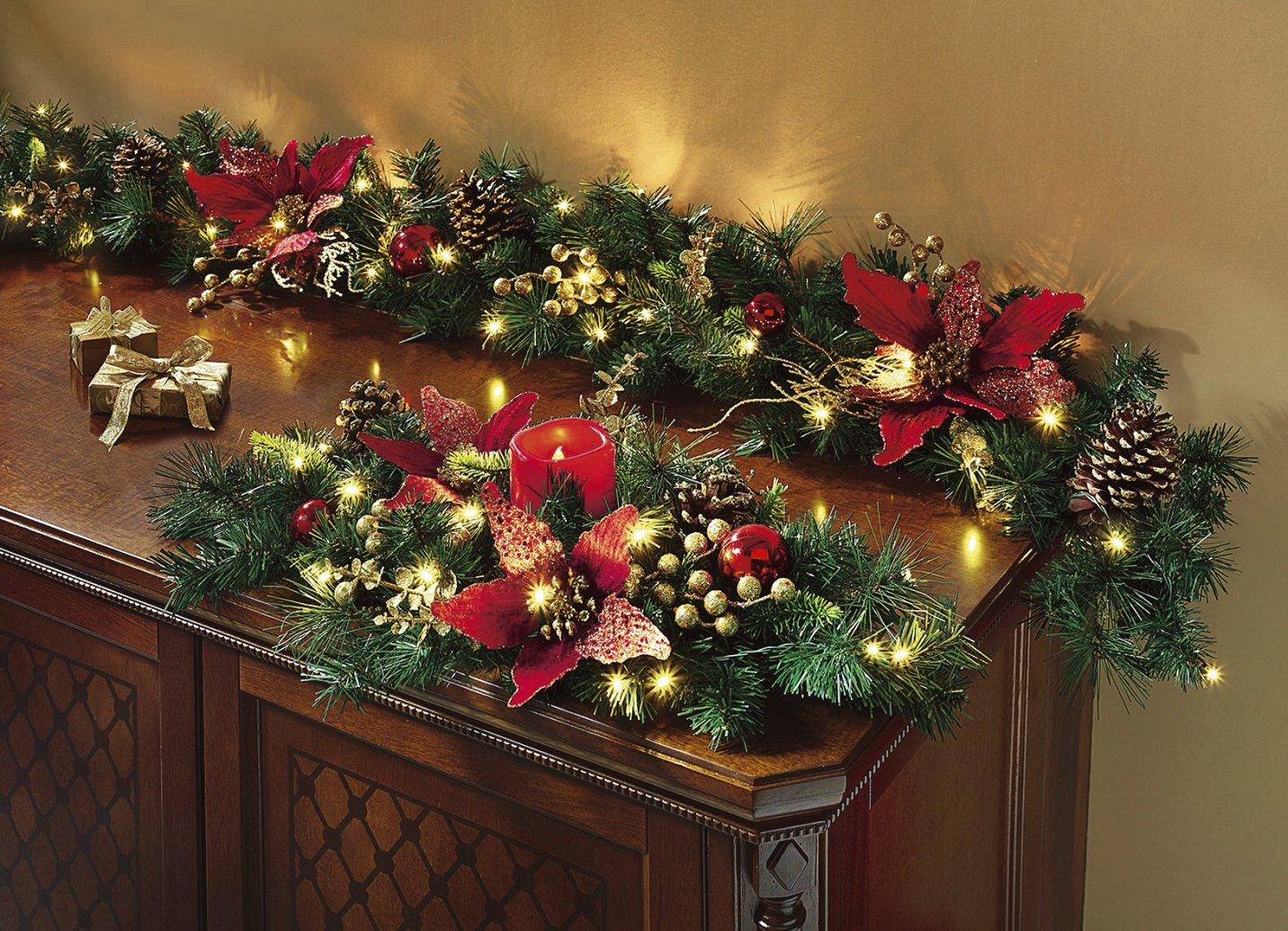 Beleuchtete Bilder Weihnachten.Beleuchtete Tannengirlande Rot Girlande Weihnachten Dekoration