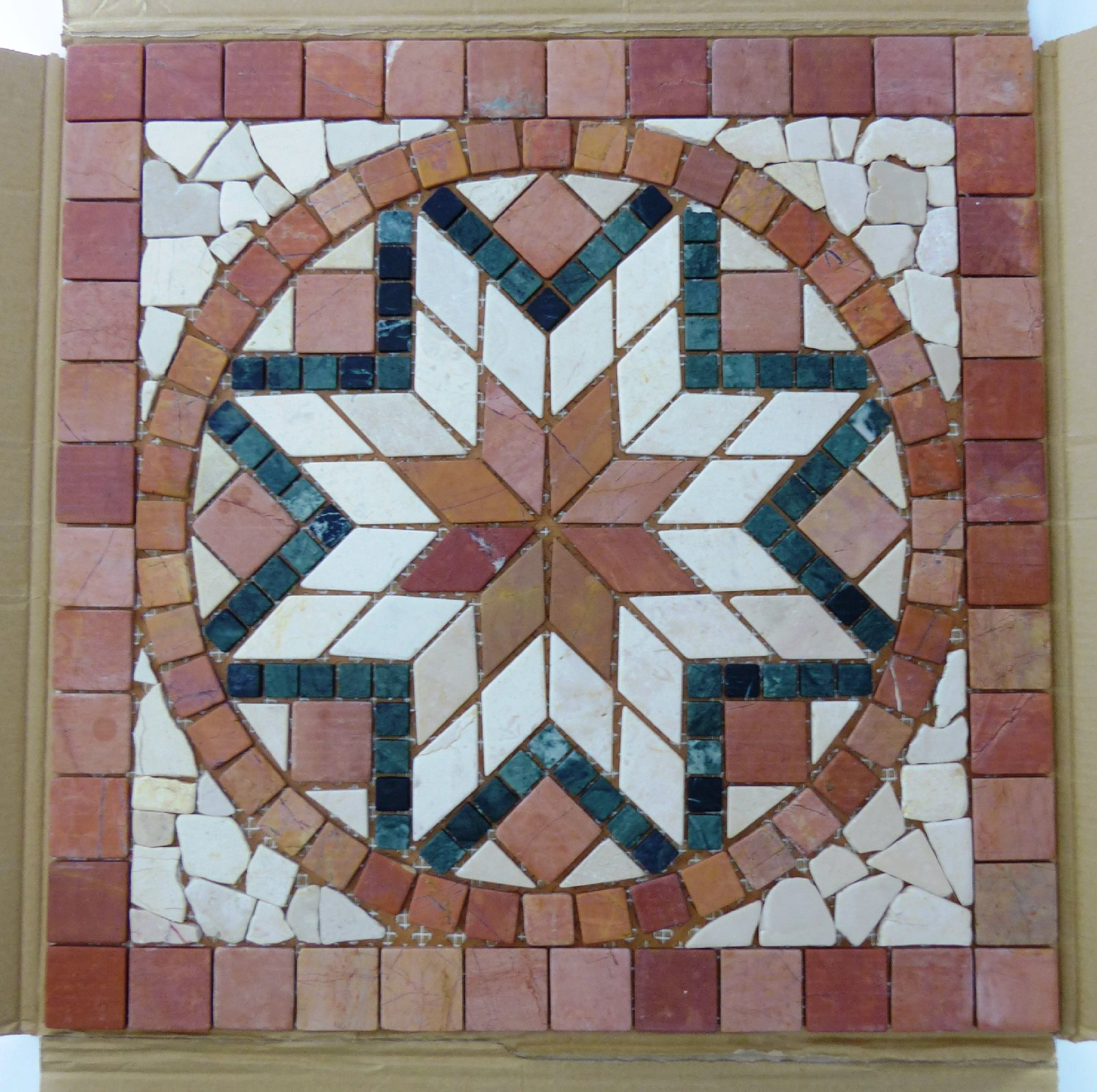 rosone mosaik fliese rom typ y 94 s marmor stern 60x60cm. Black Bedroom Furniture Sets. Home Design Ideas