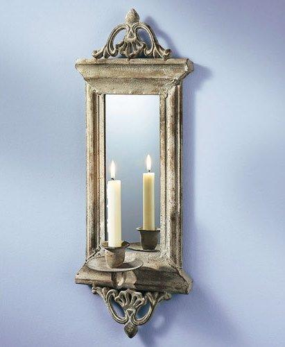 wand kerzenhalter mit spiegel kerzenhalter kerze dekoration wanddeko 2 ebay. Black Bedroom Furniture Sets. Home Design Ideas