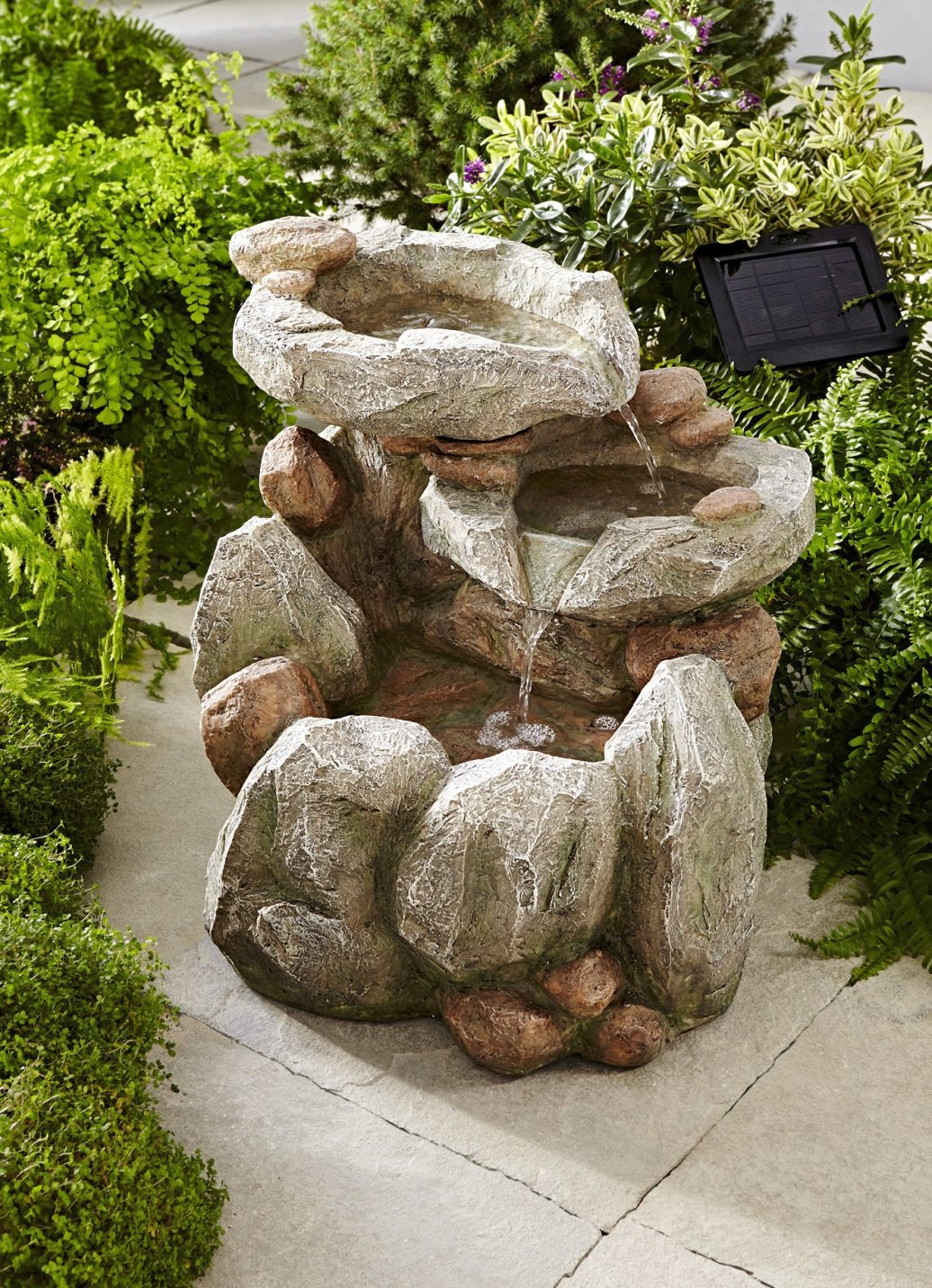 smartsolar rock fall brunnen zierbrunnen solarbrunnen. Black Bedroom Furniture Sets. Home Design Ideas