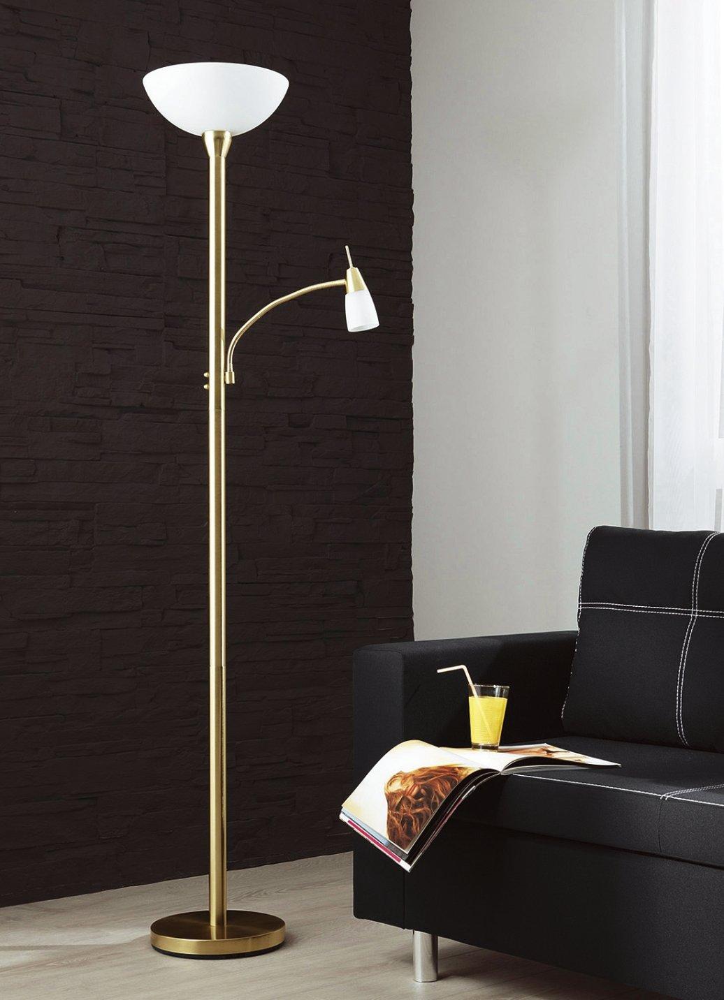 led deckenfluter mit leselampe stehlampe stehleuchte messing lampe leuchte. Black Bedroom Furniture Sets. Home Design Ideas