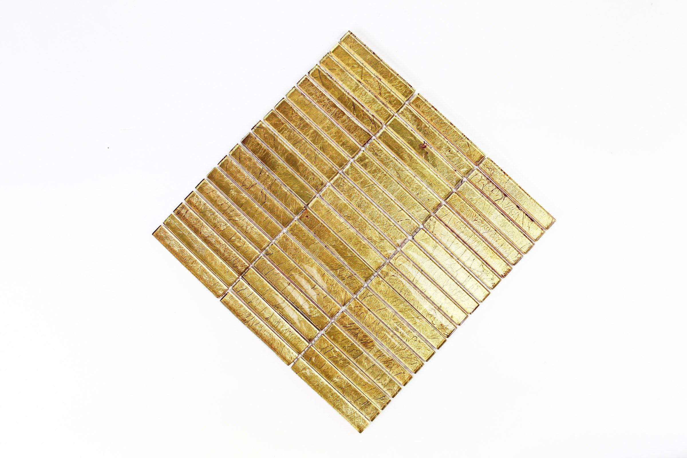 Glasmosaik 30x30cm Glasfliesen Gold Mosaikfliese