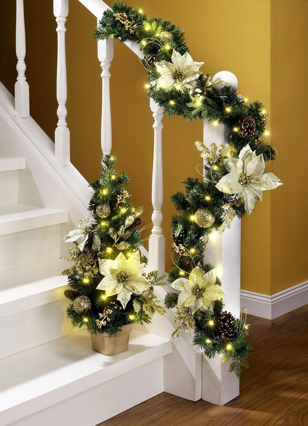 beleuchtete tannengirlande creme girlande weihnachten deko advent ebay. Black Bedroom Furniture Sets. Home Design Ideas