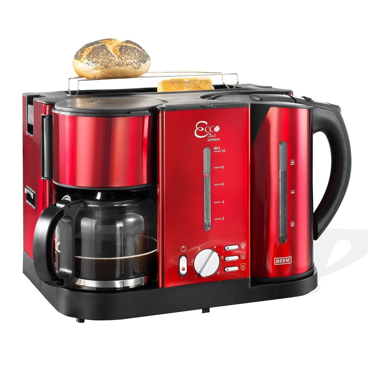 beem ecco 3 in 1 fr hst cks center kaffeemaschine toaster wasserkocher rot ebay. Black Bedroom Furniture Sets. Home Design Ideas