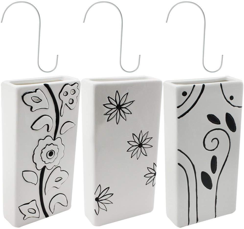 Luftbefeuchter Verdunster Heizkörperverdunster schwarz weiß Blumen Keramik