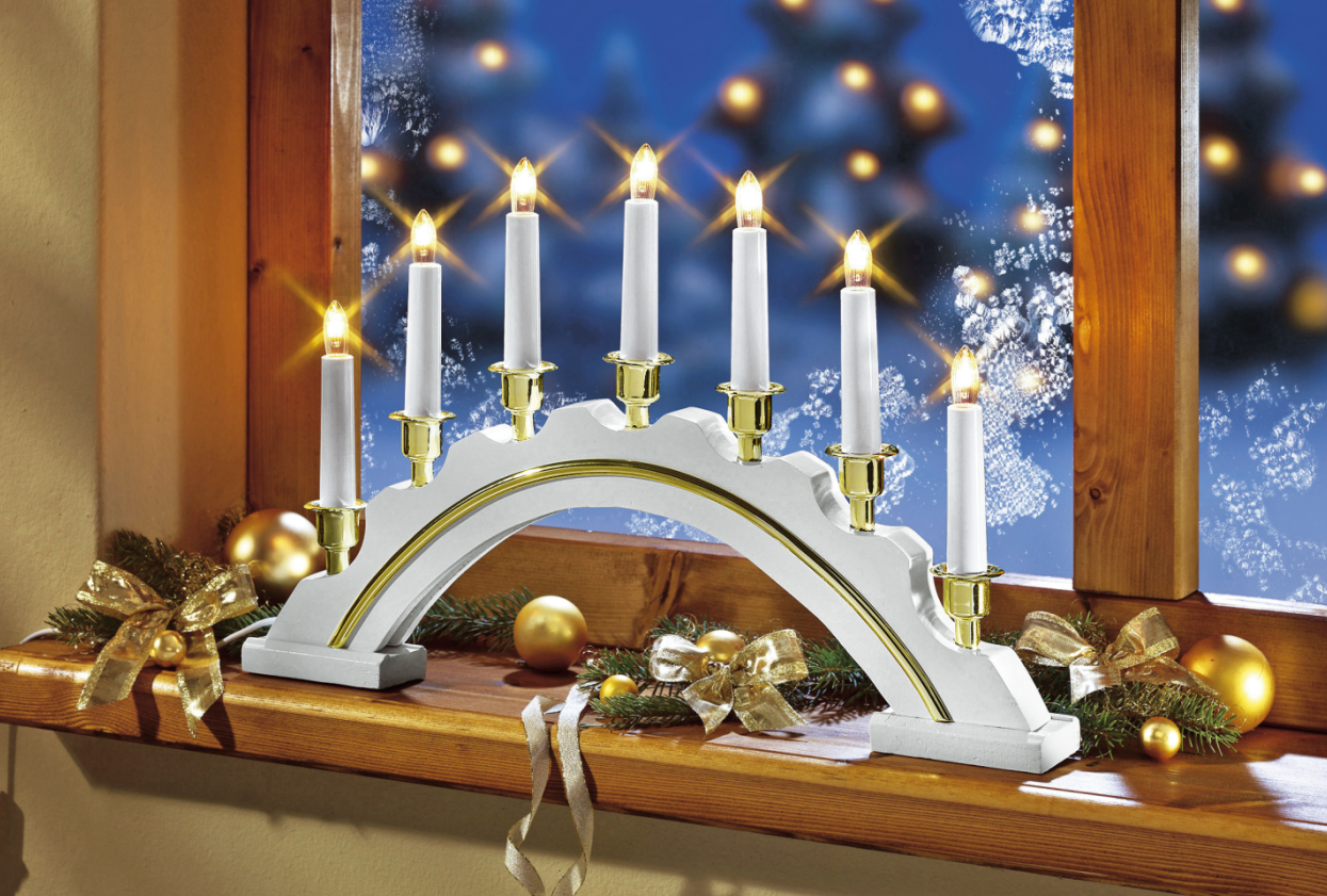 Fensterlicht Weihnachten.Details Zu Mark Slojd Fenster Leuchter Lichterbogen Weiss Schwipbogen Weihnachten Dekoration