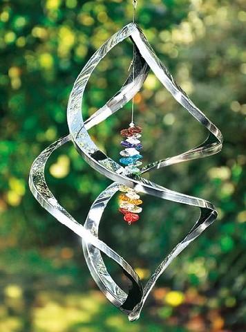 Windspiel bunte kristalle garten dekoration aus edelstahl for Windspiel edelstahl garten