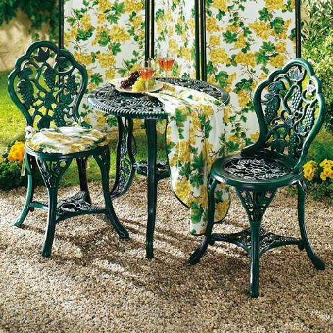 tisch gruppe gr n rund gartentisch st hle stuhl rundtisch garten deko ebay. Black Bedroom Furniture Sets. Home Design Ideas
