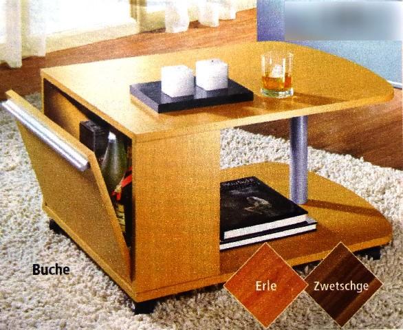 Couchtisch Zwetschge rollbar mit Barfach Tisch Möbel